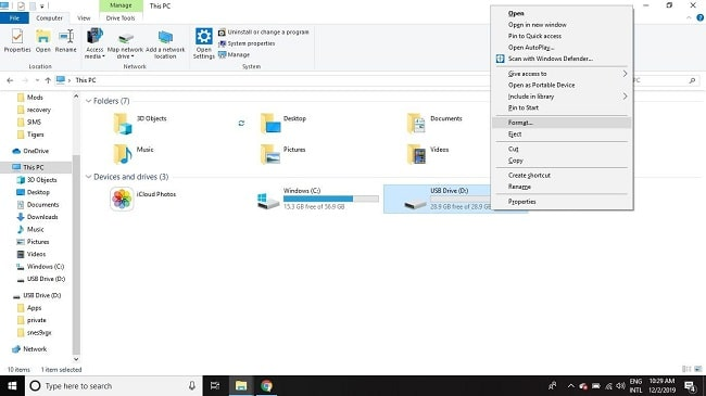 Format SD Card Using Windows 10