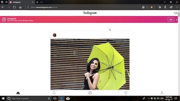 Instagram on Microsoft Edge