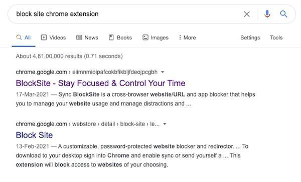 Search BlockSite
